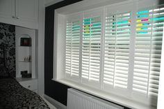 How To Make Plantation Shutters, but why you probably should just buy them. Interior Window Shutters, House Shutters, Diy Shutters, Wooden Shutters, Interior Doors, Bathroom Interior Design, Interior Design Living Room, Living Room Designs, Living Spaces