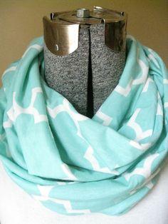 Mint green Aqua Quatrefoil Infinity Scarf-  jersey knit, geometric, white, scarf, jersey knit, circle scarf, free shipping