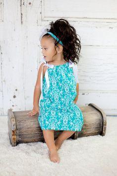 teal summer dresses for girls | teal blue damask pillowcase dress girls dresses baby dresses toddler ...