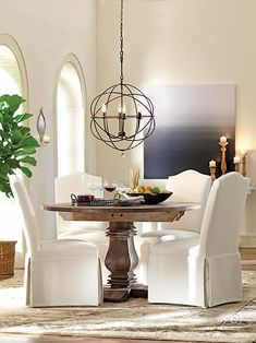 Aldridge Round Dining Table. Kitchen nook. Great price with similar look to Restoration Hardware table