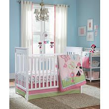 Disney Baby Minnie Mouse 4-Piece Crib Bedding Set$100 Sheet, bed skirt, Comforter and the Minnie Stuffing toy
