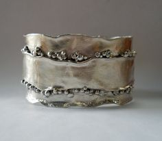 Reticulated Silver Handcrafted cuff bracelet