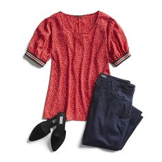 Stitch Fix red top fall outfit inspiration Autumn Outfits Curvy, Simple Fall Outfits, Cute Outfits, Casual Outfits, Stitch Fix Outfits, Jeans For Short Legs, Beste Jeans, Stitch Fix Fall, Denim Trends