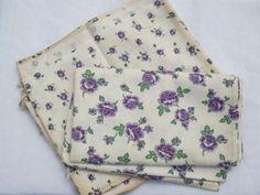 2 old feed sacks, lot purple roses flowers print cotton feedsack fabric