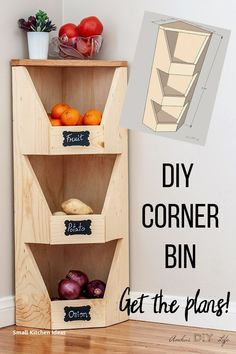 DIY Corner Vegetable Storage Bin Plans This is perfect for my sma. DIY Corner Vegetable Storage Bin Plans This is perfect for my small kitchen! How to build a DIY corner veg. Furniture Projects, Home Projects, Furniture Storage, Diy Storage Projects, Diy Kitchen Projects, Diy Projects For Bedroom, Small Wood Projects, Scrap Wood Projects, Diy Upcycled Storage Ideas