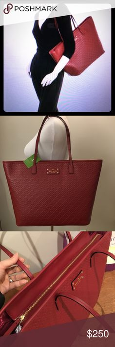 "NWT Kaye Spade Margareta Penn Place Leather Tote NWT Kate Spade Margareta Pen Place Embossed Leather Tote XL   Color Train Car Red; Embossed Leather Interior Design Detail: Kate Spade Lining With A Side Zipper And Two Side Sleeves Measures 13"" Wide X 11.5"" High X 6.5"" Deep Top Handle Drops 10"" Zipper Top Closure. NWT. No trade.  Never used, unworn, Smoke free environment, no dust bag. kate spade Bags Totes"