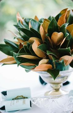 Magnolia-Leaves-in-Silver-Bowl arrangement - Dear Wesleyann Photo and  Events by Nouveau #magnolia #arrangement #wedding