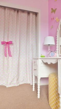 Fresh Coat of Paint: A Pretty Cover Up - curtains for closet doors Closet Curtains, Closet Doors, Daughters Room, Girls Bedroom, Bedroom Ideas, Bedrooms, Cozy Place, Little Girl Rooms, White Furniture