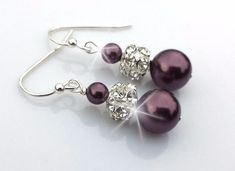 Plum pearl and rhinestone bridal earrings in silver  100% Handmade in USA Pick Your Pearl Color and Finish