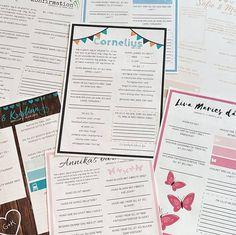 Personlige gæstebøger/fremtidsquiz til barnedåber, navngivningsfester, fødselsdage og bryllupper.