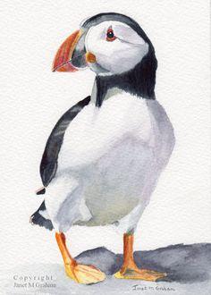 Puffin / Bird /   An original hand painted bird  by ArtDownUnder, $35.00