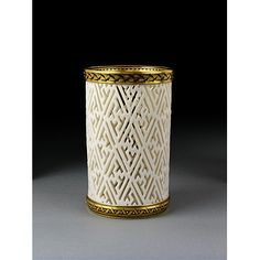 Spill jar of porcelain with a perforated pattern, borders designed by Christopher Dresser, Minton & Co., Stoke-on-Trent, ca. 1862