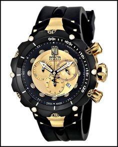 Invicta Men's Black Watch - Best Fashions for All Patek Philippe, Latest Women Watches, Omega, Seiko Watches, Luxury Watches For Men, Rolex Datejust, Beautiful Watches, Cool Watches, Fancy Watches