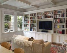 bookshelves around the tv
