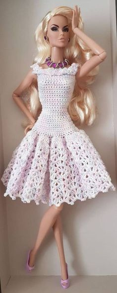 Crochet Dress Doll Pattern Barbie Clothes Super Ideas – Arts and Crafts Barbie Clothes Patterns, Crochet Barbie Clothes, Doll Clothes Barbie, Doll Dress Patterns, Barbie Dress, Clothing Patterns, Barbie Doll, Doll Dresses, Dress Clothes