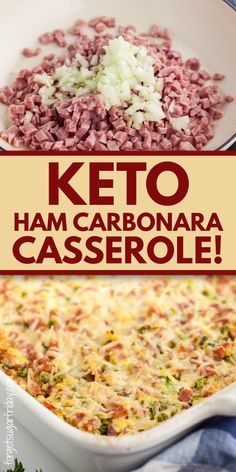 You are going to love this keto ham recipe! It's a keto casserole recipe that contains only 6g net carbs per filling serving. A great keto dinner recipe and low carb dinner recipe. Serve the leftovers with keto lunches! Diced ham casserole with Parmesan cheese, peas, and more. A great keto family meal. Low carb casserole, low carb ham recipe. Low Carb Dinner Recipes, Keto Dinner, Ham Dinner, Diet Recipes, Recipes With Ham Low Carb, Cooking Recipes, Healthy Recipes, Crockpot Recipes, Recipies