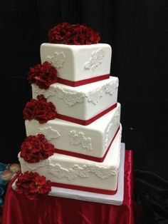 4 Tier Wedding Cake with Lace and Flower accents by @ladyccreation #ladyccreation #weddingcake #cake #sugararts #chocolate