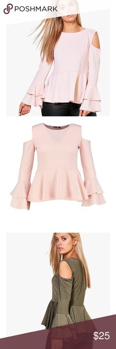 NWOT Boohoo Evelyn Ruffle Sleeve Peplum Top NWOT Evelyn Ruffle Sleeve Peplum Top Size: 12 Brand: Boohoo Color: blush/pale pink Condition: new without tags, I took the tags off before I tried it on Details: open shoulder, ruffle sleeves, peplum bottom  ❗️I consider all offers ❗️Smoke free & pet free home ❗️Everything is authentic ❌No trades ❌No off poshmark transactions so please don't ask ❓Questions? Just ask, I will get back to you quickly! Boohoo Tops Blouses