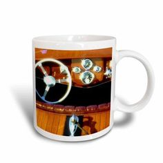 3dRose Woodwork on a wooden boat sparkles in the sun - US48 RDU0075 - Richard Duval, Ceramic Mug, 11-ounce