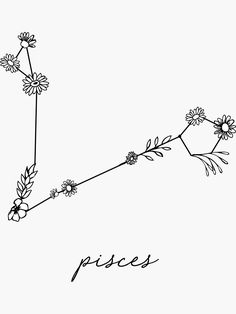 & # Pisces Zodiac Wildflower Constellation & # Stickers by aterkaderk – pisces constellation tattoo Zodiac Tattoos Pisces, Pisces Tattoo Designs, Horoscope Tattoos, Pisces Sign, Astrology Pisces, Aquarius Zodiac, Little Tattoos, Small Tattoos, Tattoo Ideas