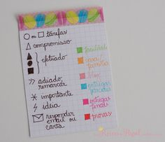 indice codigo de cores color coding from here: https://meureinodepapel.wordpress.com/2015/01/12/codigo-de-cores-e-simbolos-do-bullet-journal/