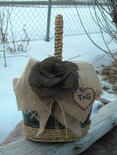 Burlap and Rope Flower Girl Basket-Country Wedding Basket-Rustic Basket