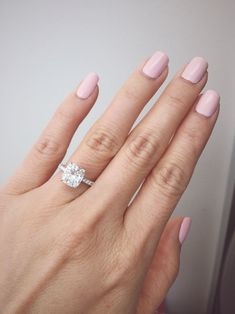 2 carat elongated cushion cut with a slim pave band...lucky to have the best fiancé! #cushioncutengagementring