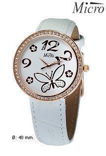 Reloj de acero para mujer y niña marca Micro con correa de cuero blanca. Caja en color oro rosa con bisel de circonitas. Números árabes y motivo de mariposa.