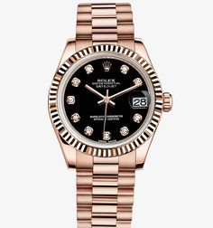rolex womens watch oyster perpetual gold with black face - Google Search