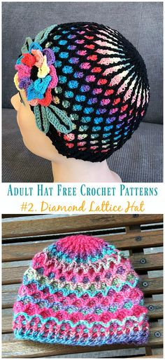 Diamond Lattice Hat Crochet Free Patterns - Adult #Hat; #Crochet; Free Patterns