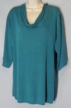 COLDWATER CREEK size XL Teal Green Scoopneck Sweater w/ elbow sleeves  #ColdwaterCreek #ScoopNeck