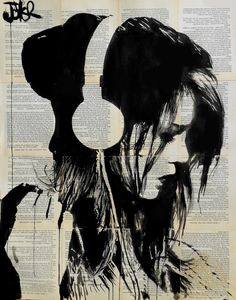"Artist: Loui Jover; Ink 2014 Drawing ""melodies solace ...SOLD"""