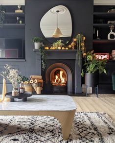 Dark Living Rooms, New Living Room, Living Room Decor, Dining Room, Room Color Schemes, Room Colors, Front Room Decor, Edwardian House, Home Interior Design
