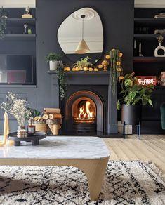 Dark Living Rooms, Home Living Room, Living Room Decor, Front Room Decor, Front Rooms, Edwardian House, Fall Home Decor, Room Colors, Home Interior Design