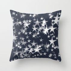 Navy and White Stars Bokeh Throw Pillow