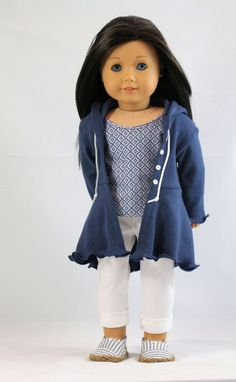 American Girl Doll Clothes Blue Print Sleeveless by NoodleClothing