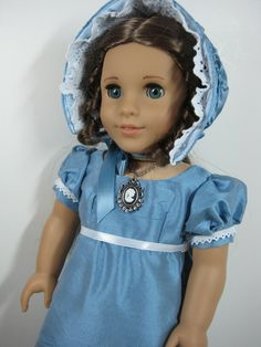 18 inch Doll Clothes American Girl Periwinkle Blue Dupoini Silk Gown and Bonnet for Marie Grace and Cecile.  via Etsy.