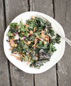 Kale Salad with Spicy Peanut Dressing; LOVE this salad dressing