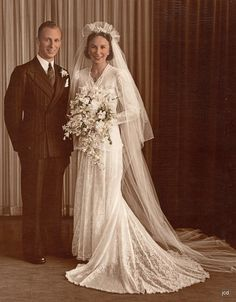 1946~I absolutely love the wedding gowns and veils from the 40's.  So elegant and feminine!