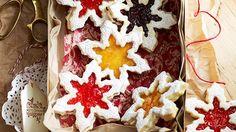 Jam Shortbread Snowflakes ~ via The Australian Women's Weekly.