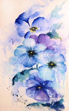 """Pansey Blues"" transparent watercolor by Bette Orr..... This image is copyrighted and cannot be copied or reproduced in any manner, including tattoos, without my permission........www.betteorr.com"