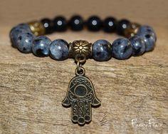 Larvikite and Black Tourmaline Gemstone Bracelet for Protection and Psychic Awareness - Hamsa Bracelet, Nickel Free, Crystal Bracelet, Hamsa