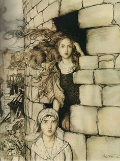 Arthur Rackham - this fairytale was a rather horrid one - a true old-fashioned, that is :-D - the princess was put in a tower with her maid, no doors or windows, and they started digging their way out with a table knife. When they finally got out, they saw that a war had ravished the country and everything has changed, no-one remembered even the girls...