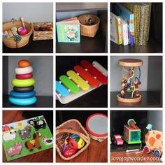 Montessori, RIE and Reggio Emilia inspired spaces and shelves at home for a one year old toddler. Living room and bedroom nursery. Toys and activities for 12 month old.