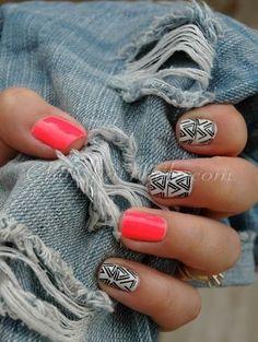 Cute neon geo nails