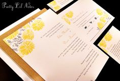 Sunflower Daisy Summer Fall Custom Unique Wedding Invitation Spring Autumn Outdoor Garden Zinnia Liner - Bright As The Sun Design by PrettyLilNotes on Etsy