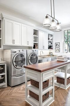 Amazing laundry room design with wood Top Laundry Room Island with Shelves | Forte Building Group