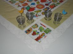 Vintage Tablecloth and Four Egg Cups by DeeGeeRetro on Etsy
