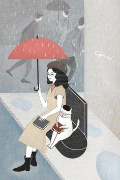 Readers in the rain / Lectores bajo la lluvia (ilustración de Miss Cyndi)