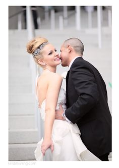 bride and groom, just married, top bun, sparkly headpiece, love, moment, Mint Museum Wedding, Charlotte NC Wedding Photographer, Kristin Vining Photography